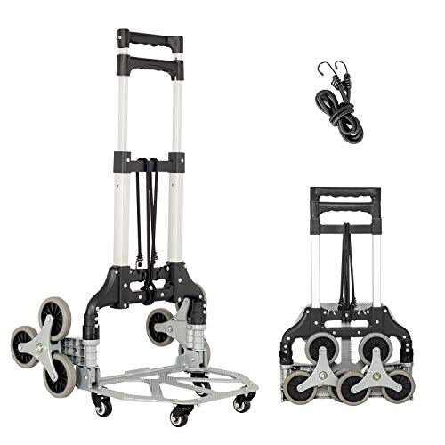 Fullwatt Stair Climber Cart, 15 Inch Height Adjustable Aluminum Portable Folding Stair Climbing Cart Tri-Wheels with Bungee Cord Heavy Duty All Terrain Stair Climbing Hand Truck (Black)