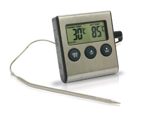 Koch 13211 elektronisches Einstich-Bratenthermometer, Timer, 2-teilig, silber