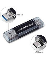 USB Memory Stick 256 GB Wansenda USB 3.0 Type C Flash Drive Pen Drive OTG USB Stick Voor Type-C Android-apparaten/PC/Mac (256 GB, zwart)