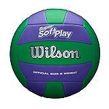 Wilson Ballon de Volley-Ball SUPER SOFT PLAY, Cuir Mélangé, Taille Officielle, Intérieur et Extérieur, Bleu/Vert, WTH90419XB