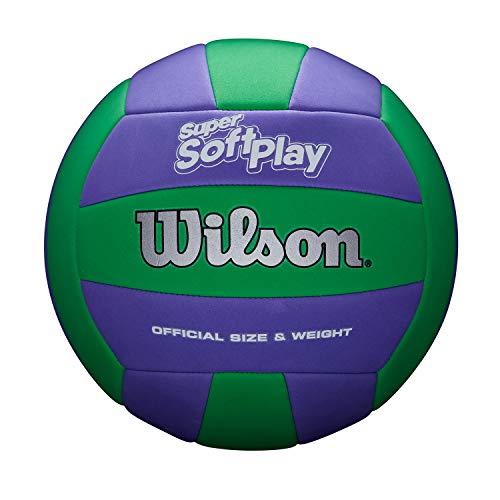 Wilson Volleyball SUPER Soft Play, Mischleder, Offizielle Größe, Indoor und Outdoor, Blau/Grün, WTH90419XB