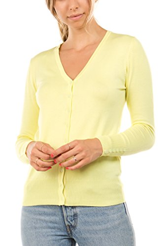 CIELO Women's Regular Solid Cardigan with Decorative Buttons, Lemon Yellow, Large