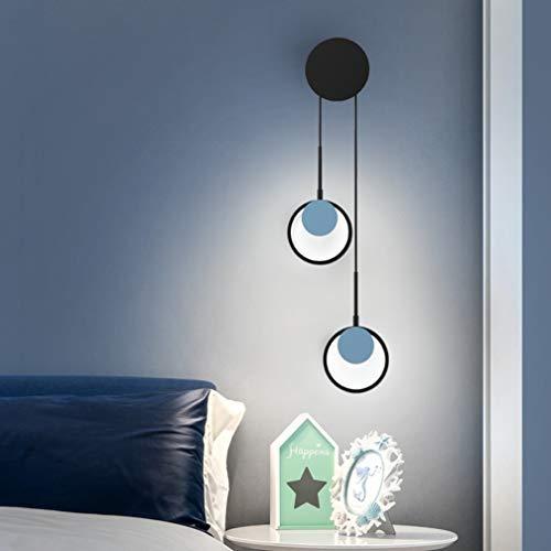 LED Lampe Murale Moderne Lampe Murale Anneau Rond éclairage Design Mural géométrie Creative métal écran Acrylique Lampe de Chevet pour l'escalier de la Salle de Vie Chambre d'enfants,Noir,2 Lamp
