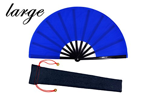 meifan Large Chinese Kung Fu Tai Chi Hand Fan for Men/Women, Hand Held Dance Folding Fans, with a Fabric Case for Protection (Blue)