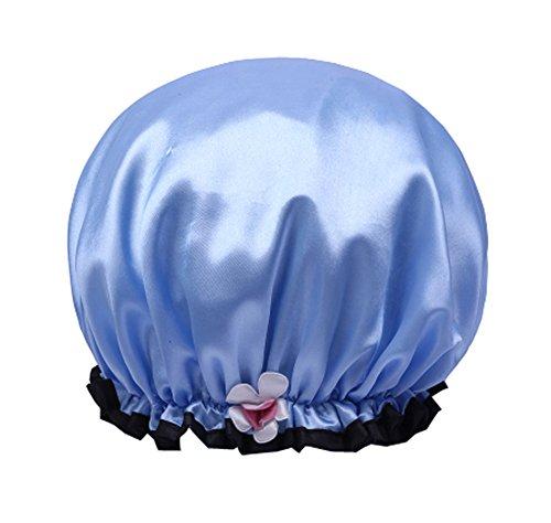 Casquette de douche pour enfants imperméable à l'eau, chapeau de shampooing épais mignon-bleu