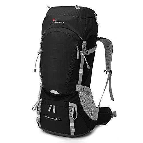 MOUNTAINTOP 50L/55L Rucksack Trekkingrucksäcke für Wandern Camping Reisen Backpacking Bergsteigen (Schwarz-55L)