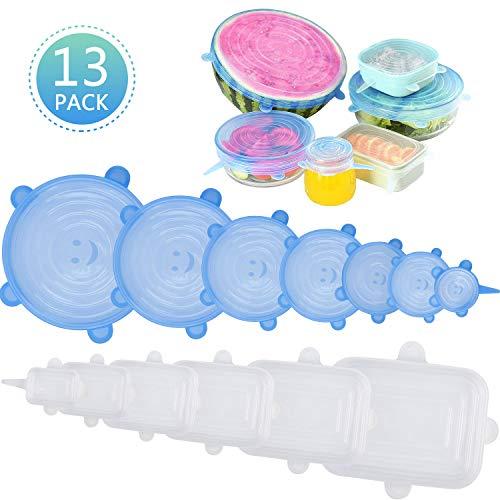 Umitive Tapas de Silicona EláSticas, paquete de 13 tapas de silicona para alimentos Tapas rectangulares y redondas expandibles para varios recipientes, no tóxicos,Seguro de usar en horno de microondas