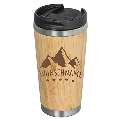 GRAVURZEILE | Kaffeebecher to go aus Bambus | verschiedene Motive - mit Wunschgravur - lebensmittelecht & umweltfreundlich - Kaffee-Becher Trink-Becher Coffee-To-Go-Becher Mountain