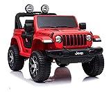 Indalchess Jeep RUBICÓN 12V para NIÑOS, Rojo, Mando RC, 4 Motores, Full Option, Mando Radio Control Parental