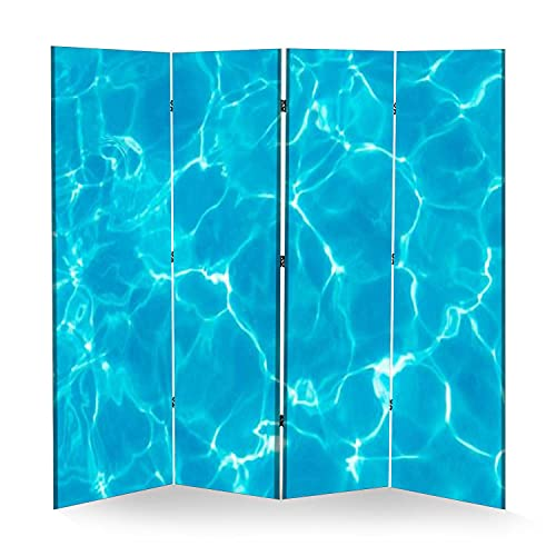 4 Panel Wall Divider Water Ripples and Pattern Folding Canvas Privacy Partition Screen Room Divider Sound Proof Separator Freestanding Protective Divider