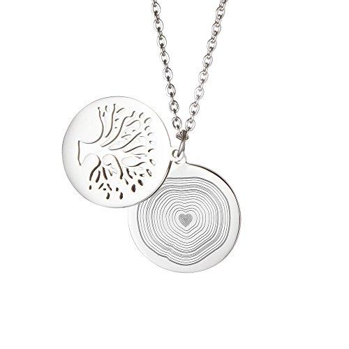 Gravado Halskette aus Edelstahl mit Baumanhänger und Kreis mit Jahresringen, Personalisiert mit Initialen, Inkl. Geschenkbox, Damen Schmuck