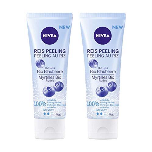 NIVEA Reis Peeling Bio Blaubeere, 2er-Set, 100% biologisch angebauter, natürlicher Reis, für normale Haut und Mischhaut, Gesichtspeeling ohne Mikroplastik, mittlere Peeling Intensität, 2 x 75 ml