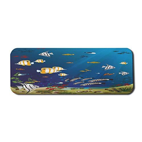 Aquarium Computer Mouse Pad, viele verschiedene Fische am Grund des Ozeans Deep Water Sealife Cartoon Natur, Rechteck rutschfeste Gummi Mousepad große mehrfarbig
