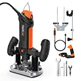 TACKLIFE Plunge and Fixed Base Router, 30,000RPM Compact Router Kit, 6 Variable Speed Router Tool, 1/8' Flex Shaft, 1/4', 6mm Collets, Auxiliary Handle, Compass for DIY - PTR01A