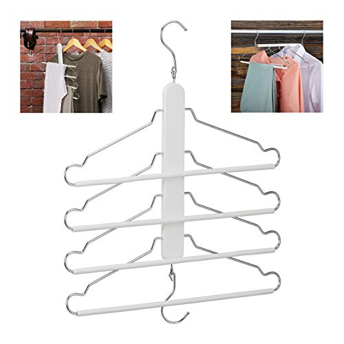 Relaxdays Raumsparbügel mehrfach, 4 Kleiderbügel mit Hosensteg, Holz, Metall, Mehrfachkleiderbügel platzsparend, weiß