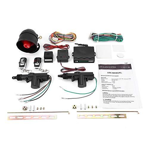 Jullynice Universal Vehicle Remote Central Lock Keyless Entry System 2 Car Door Remote Central Locking Kit + Anti-Theft Alarm Tool Set, Car Alarm
