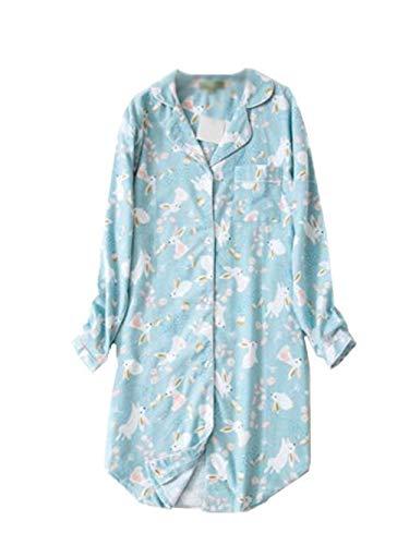 Pijama Vestido De Mujer Largo con Camisón Estampado De Pijamas con Tobillo Pfe con Modernas Casual Bolsillo Sin Mangas Agujeros De Manga Larga Cher Negligee (Color : Azul, Size : S)