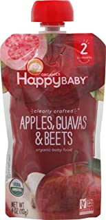Happy Baby, Clearly Crafted Stage 2 Organic Baby Food, Apple Guava and Beet, 4 oz, Clear Pouches Let You See Every Delicious Bite, Stage 2 Baby Food Pouches Are Great for 6 Months and Up