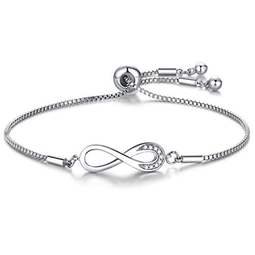 USEEDOVIA Silver Bracelet for Women- White Gold Plated Cubic Zirconia Paved Infinity Bracelets with Adjustable Chain, Anniversary Birthday Eternity Jewellery Gifts for Lover Mom Friends