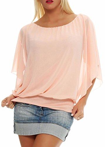 Damen Bluse im Fledermaus Look | Tunika mit Rundhals und breitem Bund | Blusenshirt Kurzarm | Elegant - Shirt 6296 (rosa)