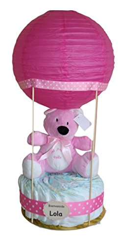 Globo de pañales rosa, tarta de pañales original regalo para bebe niña