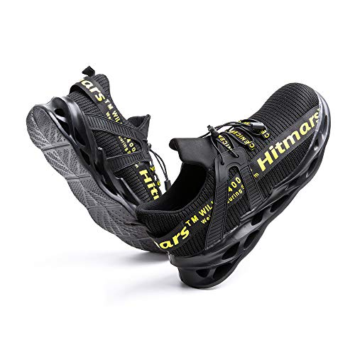 [Hitmars] 安全靴 メンズ あんぜん靴 レディース 作業靴 ふみぬき防止 スニ一カ一 軽量 むれない 軽業 鉄芯入り セーフティーシューズ おしゃれ 耐油性 耐滑 鋼先芯 工事現場 イエロー 25.5�p
