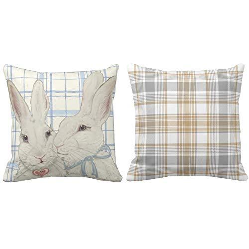 Bunny Rabbits Easter Throw Kissenbezüge 45 * 45cm 2er-Set Bauernhaus Blue Grey Buffalo Check Plaid Kissenbezüge Home Decor