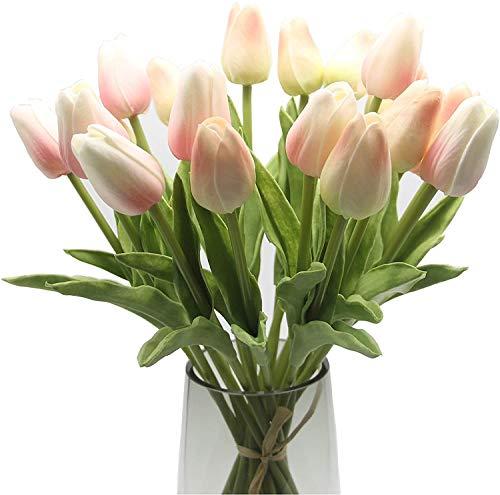 EasyLife 32cm, 20 Stück und 2 Farben pro Set, Hellrosa und Champagner, künstliche Blumen Tulpe, Dekoration für Hochzeitsdekoration im Innen- und Außenbereich, Küche, Büro, Café, Wohnkultur