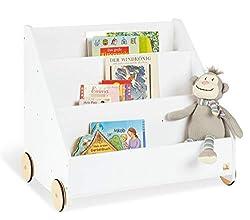 rosa // wei/ß Spielzeug- /& B/ücher-Regal f/ürs Kinderzimmer roba Kinder Regal Krone Spielregal fahrbar /& drehbar mit Rollen