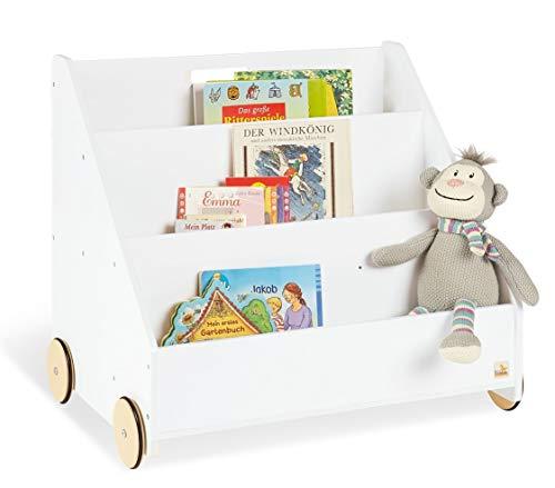 Pinolino Kinder-Bücherregal mit Rollen Lasse, aus Holz, 3 Fächer, 1 Geheimfach, gummierte Holzräder, für Kinder ab 3 Jahren, weiß