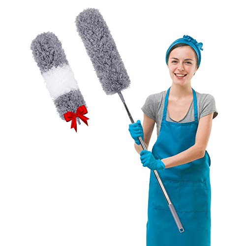 Microfiber Dusters for Cleaning with Extension Pole (30-100 inches), with 2 Bendable Head, Scratch-Resistant Cover, Bendable, Washable, Detachable, Extendable Duster for Cleaning Ceiling Fan
