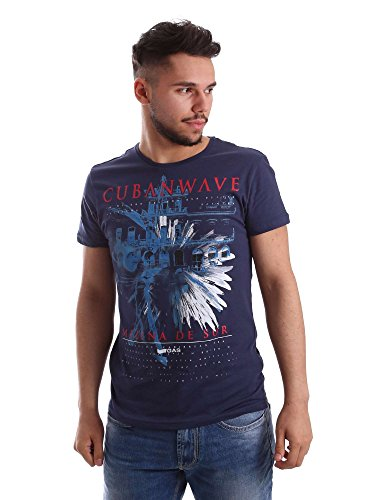 Gas Jeans Scuba Cubanwave T-Shirt, Blu (Blue Tint), Medium (Taglia Produttore:M) Uomo