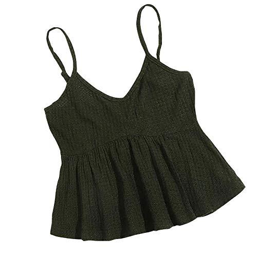 CUTUDU Womens Camisole Sleeveless Strappy V Neck Tanktops Ruffles Crop Tops Ladies Summer Knit Suspender Cami Vest T Shirt Blouse Shirt (A-Green, S)