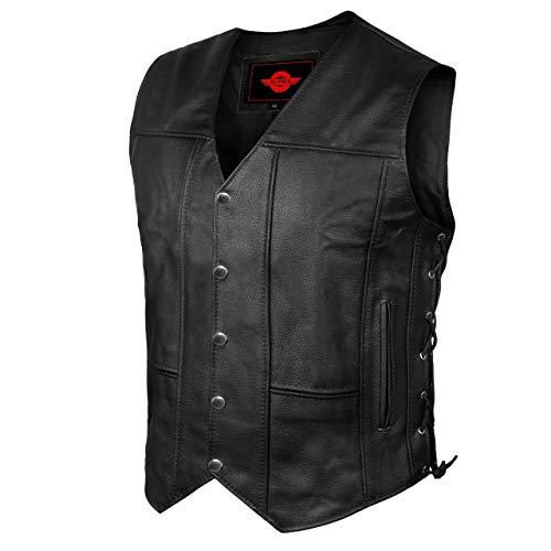 Alpha Leather Motorcycle Vest for Men Riding Club Black Biker Vests With Concealed Carry Gun Pocket Cruise Vintage (X-Large, Black, x_l)