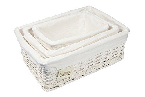WoodLuv Wicker Storage Basket with Lining, Set of 3, White by EliteHousewares