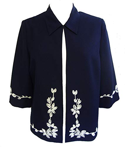 Roman Originals Women/'s Black Ponte Jacquard Jacket Sizes 10-20