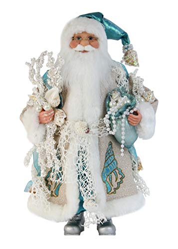 16' Inch Standing Aquamarine Santa Claus Christmas Figurine Figure Decoration 168240