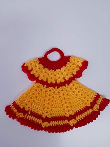 Agarradera de olla o Adorno de cocina Vestido Amarillo/Rojo