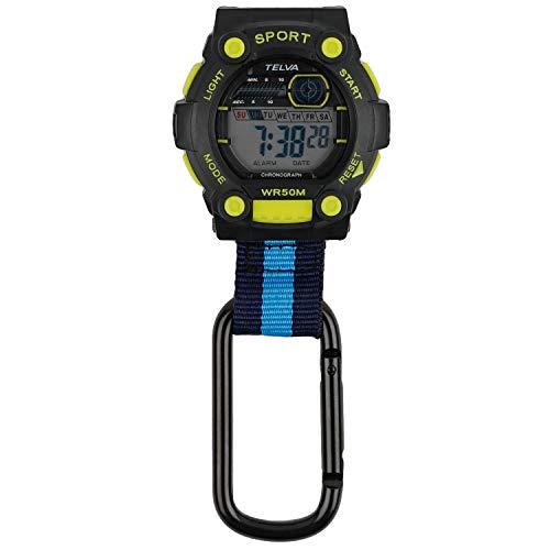 [クレファー] 懐中時計 カラビナウォッチ デジタル 防水 ストップウォッチ ライト 付き ブラック イエロー CB-D240-BKY