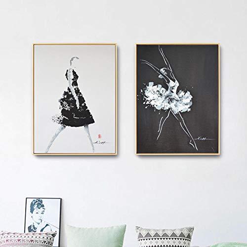 GBVC Abito Nero Donna e Balletto Lady Wall Art Poster Stampa Tela Pittura Quadri Home decor-50x70cmx2 Pezzi Senza Cornice