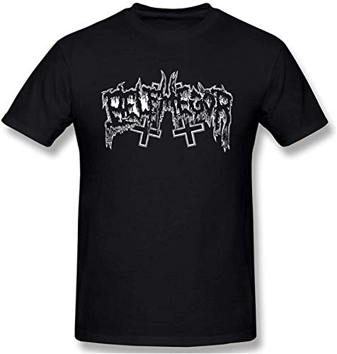 Biftersc83u Fashion Men's Belphegor Classic T-Shirt Black with Casual Short Sleeves,Large