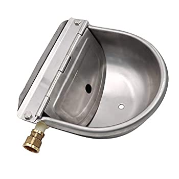 MACGOAL Stainless Steel Water Trough for Animals with Drain Plug and Connector Automatic Float Water Bowl for Dogs Livestock