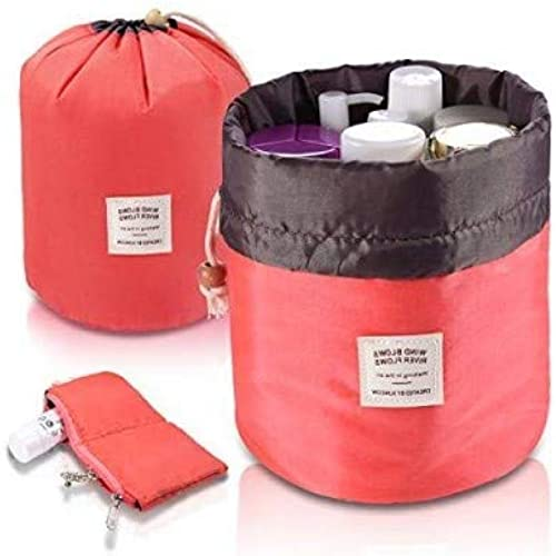DK HOME APPLIANCES Round Jewelry Box For Jewelry Storage Multifunctional Bucket Bags Round Organizer Storage Pocket Soft Waterproof Pink Color