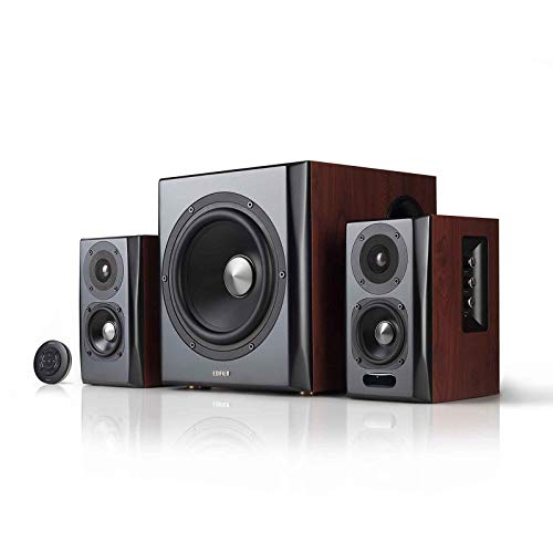 Edifier S350DB Bookshelf Speaker and Subwoofer 2.1 Speaker System Bluetooth v4.1 aptX Wireless Sound for Computer Rooms, Living Rooms and Dens (Renewed)