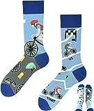 TODO Colours Lustige Socken mit Motiv - mehrfarbige, bunte, Verrückte für Herren und Damen (39-42, Tour de Bike)
