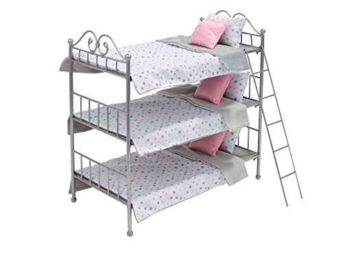 Badger Basket Metal Triple Doll Bunk Bed with Ladder and Bedding for 18 inch Dolls, Silver/Pink/White (60004)