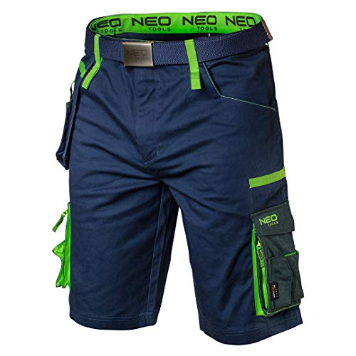 NEO TOOLS Herren Premium Kurze Arbeitshose mit Hosengürtel, 62% Baumwolle, 35% Polyester, 3% Elasthan 270 g/m2, Gr. XS-3XL, abnehmbare Werkzeugtasche