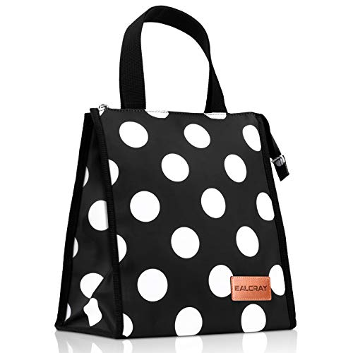 BALORAY Lunch Bag for Women Light-weight Stylish Lunch Tote Cool Bag Food Organizer for Work Picnic (Black with White Dot)