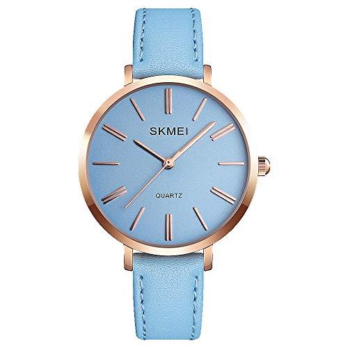 SKMEI Women Waterproof Watch, Wrist Watch for Lady Girls Dress Casual Analog Quartz Watches for Women (Blue Blue)