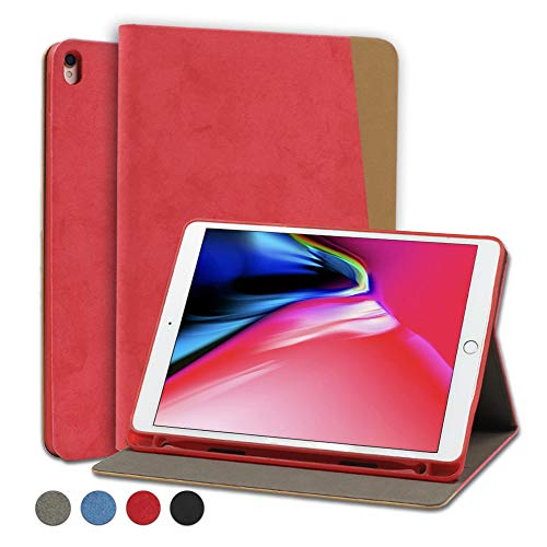Brusmo iPad 10.2 ケース/iPad Pro 10.5 ケース/iPad air 2019 ケース 2019モデル 三つ折りスタンド オートスリープ機能 iPad air3 ケース 薄型 軽量 (iPad Pro 10.5インチ, レッド)